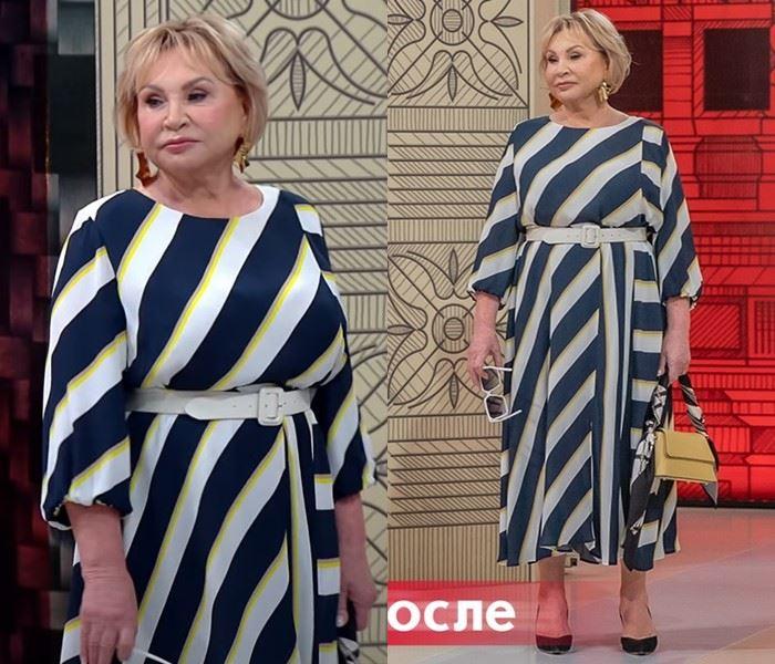 Модный приговор - Надежда, 72 года - Платье в широкую диагональную полоску