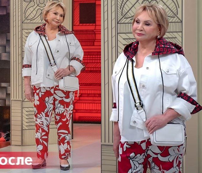 Модный приговор - Надежда, 72 года - Брюки с принтом и белой курткой с красными акцентами