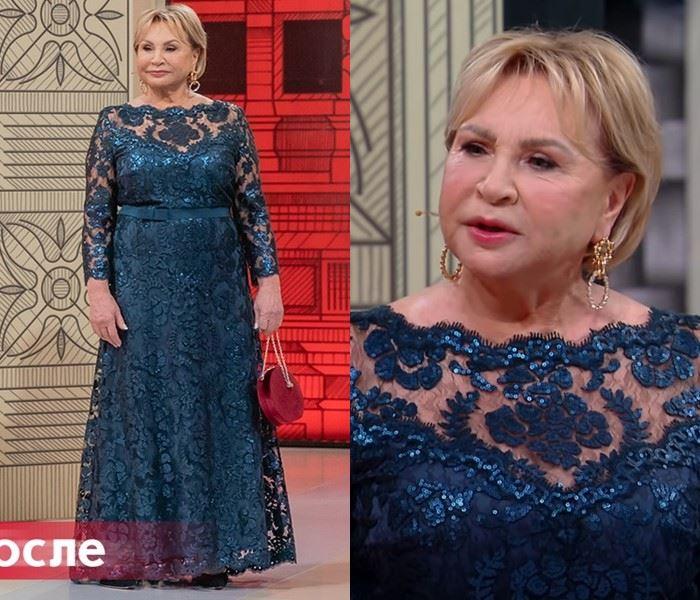 Модный приговор - Надежда, 72 года - Вечернее платье с кружевом и пайетками