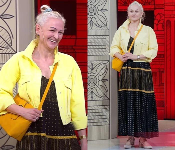 Преображение 49-летней Оксаны - Чёрное платье с жёлтой курткой