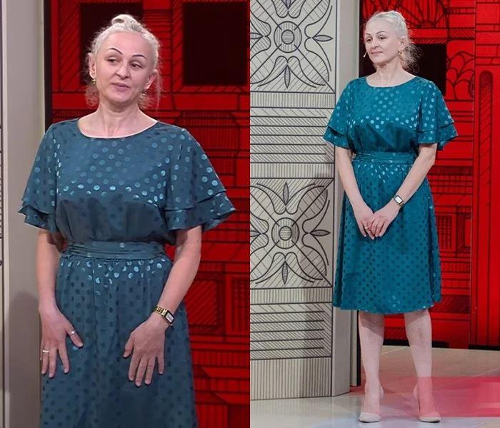 Преображение 49-летней Оксаны - Изумрудное платье в горошек