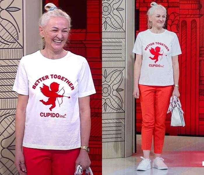 Преображение 49-летней Оксаны - Белая футболка с красными брюками