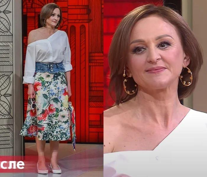 Преображение 49-летней Оксаны - Асимметричная белая блузка с цветочной юбкой