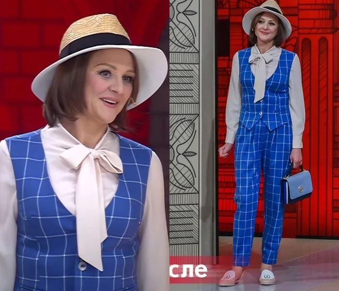 Преображение 49-летней Оксаны - Брючный костюм с жилеткой, блузкой и шляпой