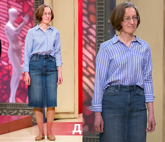 «Модный приговор»: Татьяна 55 лет - Льняная рубашка в полоску с джинсовой юбкой
