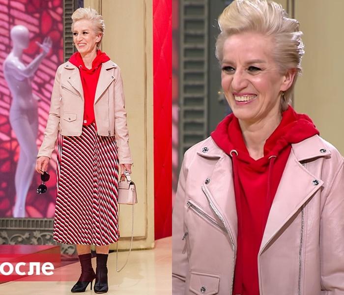 «Модный приговор»: Татьяна 55 лет - Розовая косуха с худи и юбкой в диагональную полоску