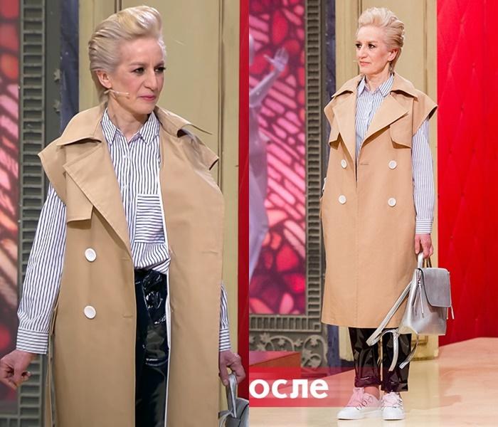 «Модный приговор»: Татьяна 55 лет - Жилет с виниловыми брюками и рубашкой в полоску