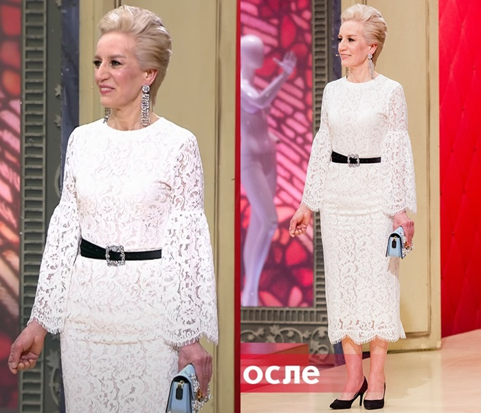 «Модный приговор»: Татьяна 55 лет - Белое кружевное платье с расклешёнными рукавами