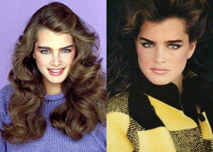 Брови Брук Шилдс - в фотосессиях для модных журналов в 80-е