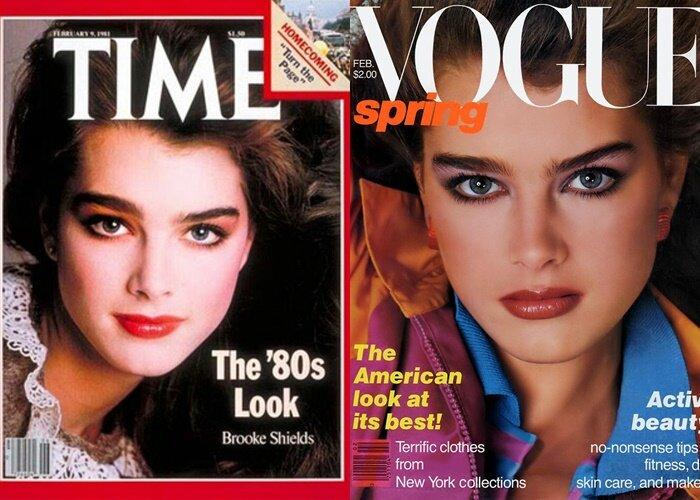 Брови Брук Шилдс - на обложке Time и Vogue
