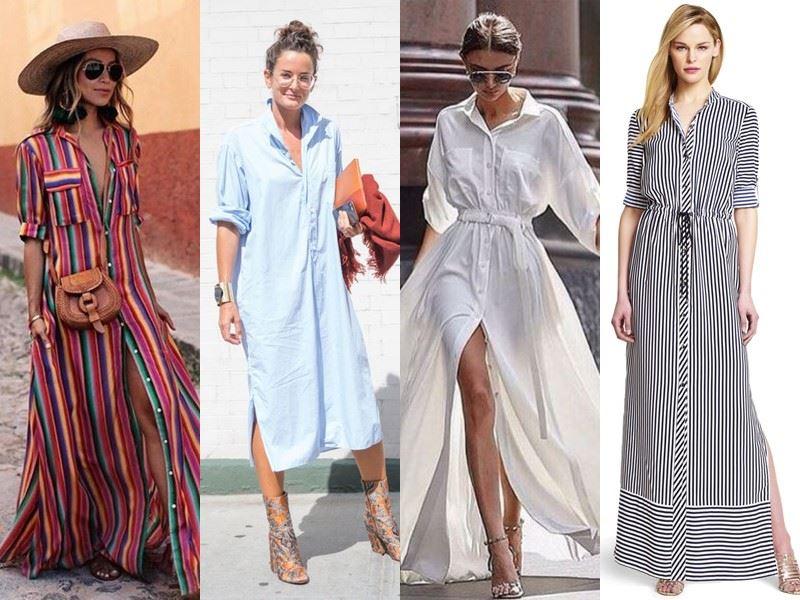 Модные платья на лето - Длинные просторные платья-рубашки