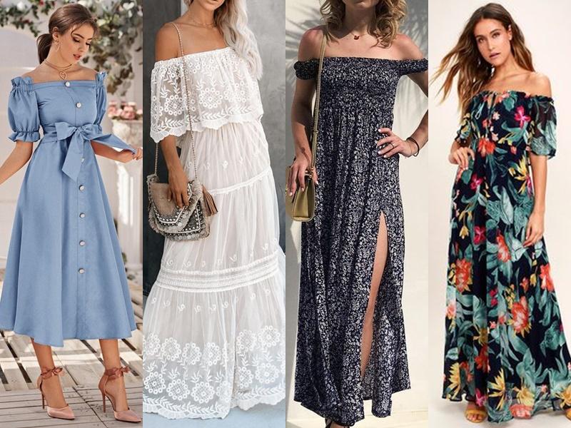 Модные летние платья - длинные платья с открытыми плечами