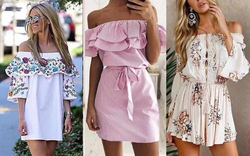 Модные летние платья - короткие платья с открытыми плечами