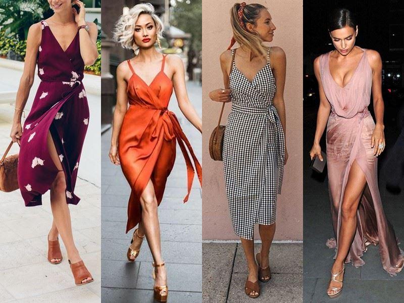 Модные платья на лето - платья-халат на тонких бретелях