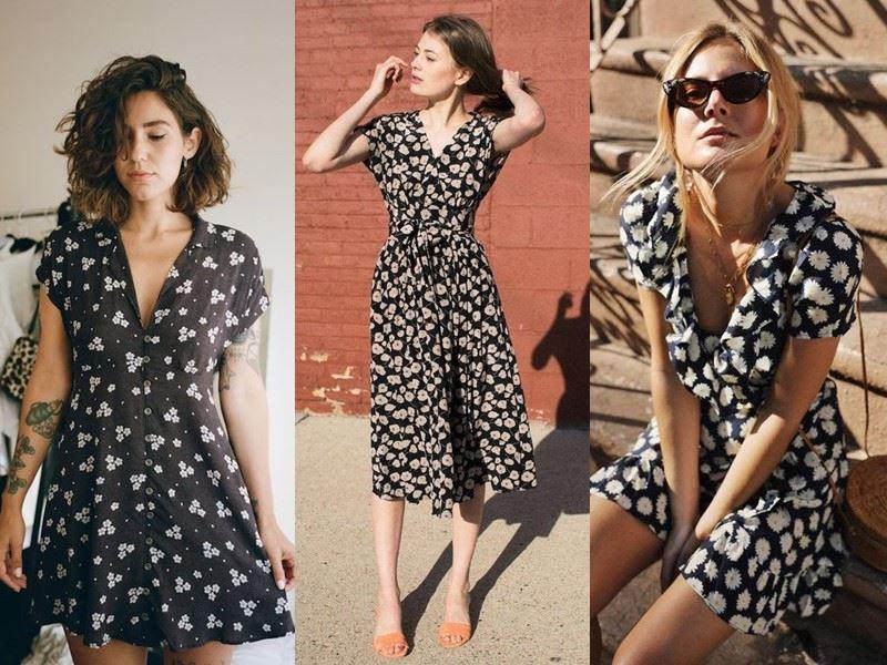Модные платья на лето - черно-белые платья в мелкий цветок