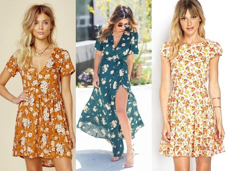 Модные платья на лето - Цветные платья с цветочным принтом