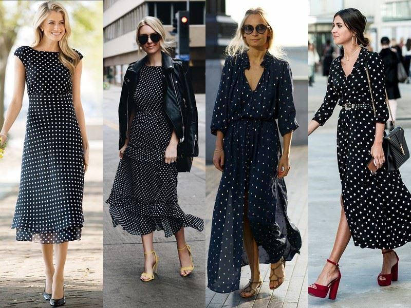 Модные платья на лето - чёрные и синие платья в горох