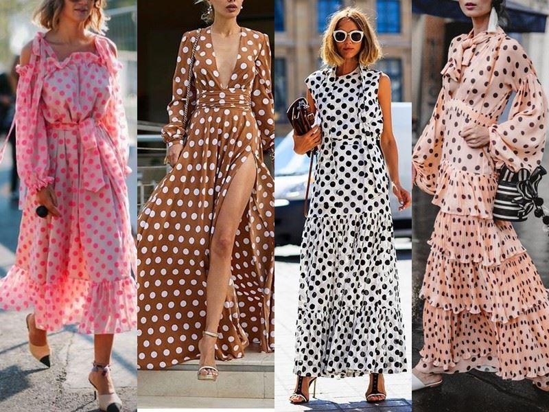 Модные платья на лето - длинные платья в горох