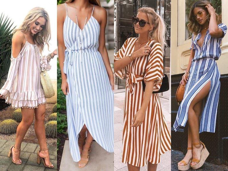 Модные платья на лето - платья в продольную полоску