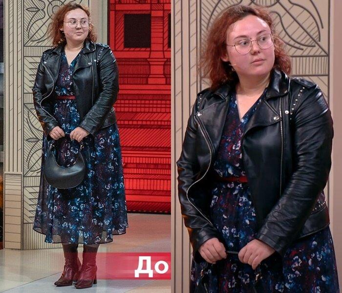 «Модный приговор» - Анастасия, 95 кг - Шифоновое платье с кожаной косухой