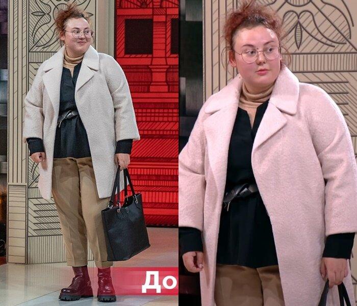 «Модный приговор» - Анастасия, 95 кг - Светлое пальто с короткими бежевыми брюками