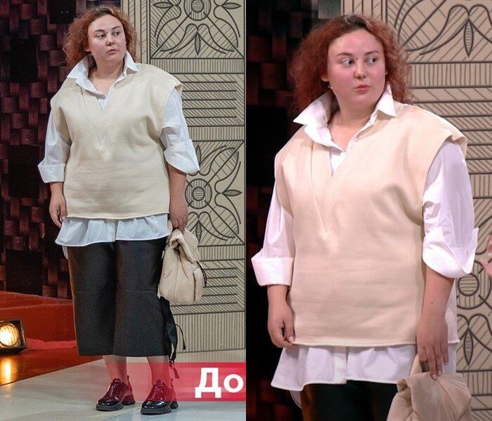 «Модный приговор» - Анастасия, 95 кг - Белая рубашка с жилетом и кожаными кюлотами
