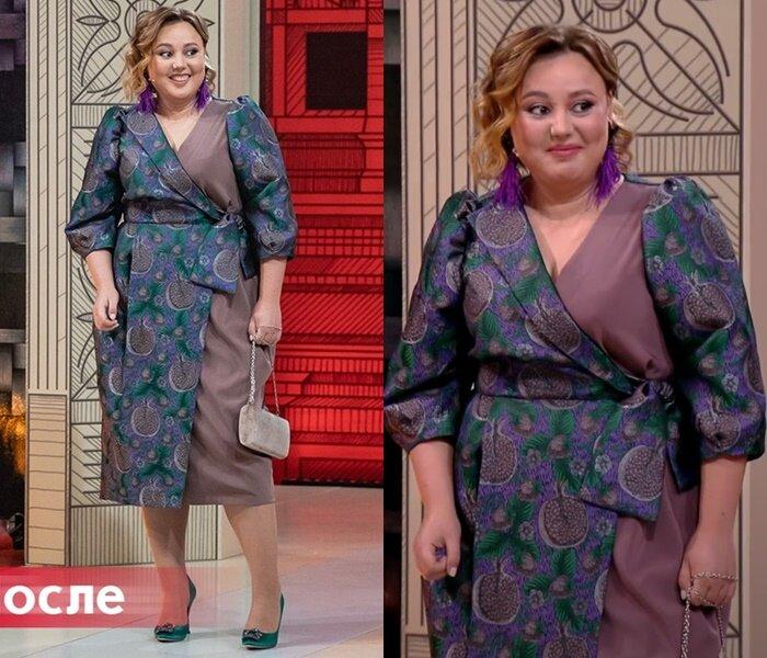 «Модный приговор» - Анастасия, 95 кг - Асимметричное платье на запах