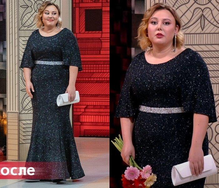«Модный приговор» - Анастасия, 95 кг - Чёрное платье-русалка с люрексом
