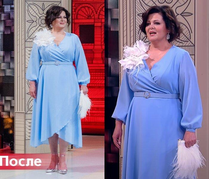 """""""Модный приговор"""", Ольга, 50 лет - Нежно-голубое платье на запах"""