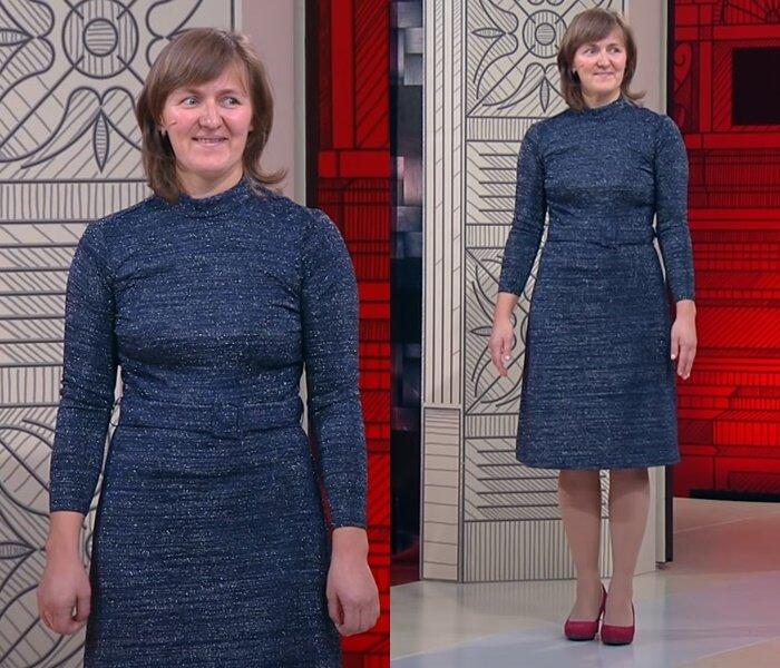 «Модный приговор», Татьяна, 45 лет - Серое платье-водолазка с люрексом