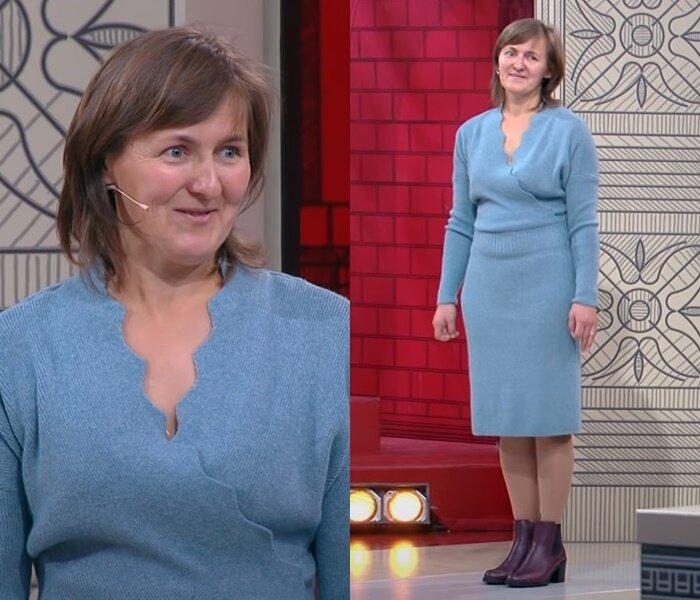 «Модный приговор», Татьяна, 45 лет - Голубое трикотажное платье на запах