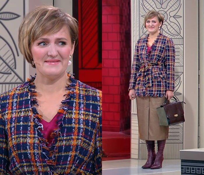 «Модный приговор», Татьяна, 45 лет - Яркий клетчатый жакет с кожаной юбкой-карандаш