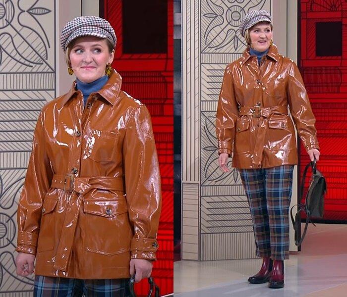«Модный приговор», Татьяна, 45 лет - Куртка из искусственной кожи с клетчатыми брюками и кепи