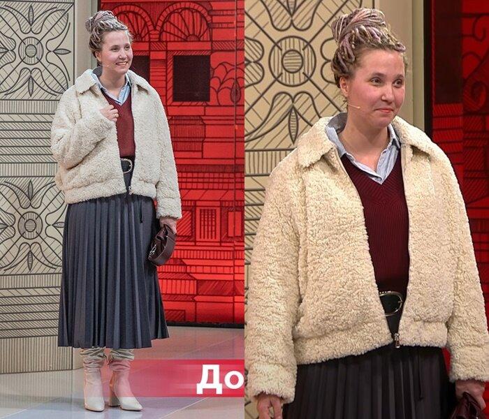 Модный приговор, Василиса - Куртка тедди с плиссированной юбкой миди