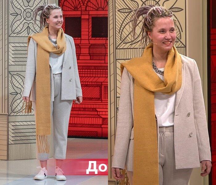 Модный приговор, Василиса - Бежевый брючный костюм с шарфом