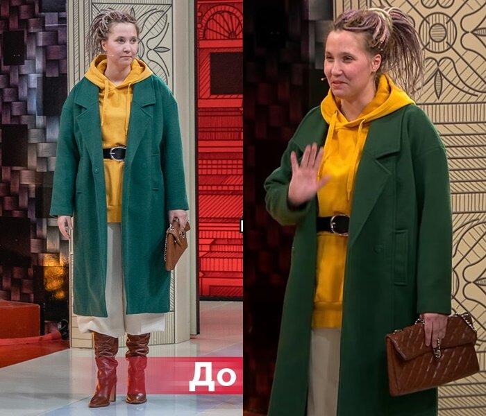 Модный приговор, Василиса - Зелёное пальто с жёлтым худи и брюками кюлотами