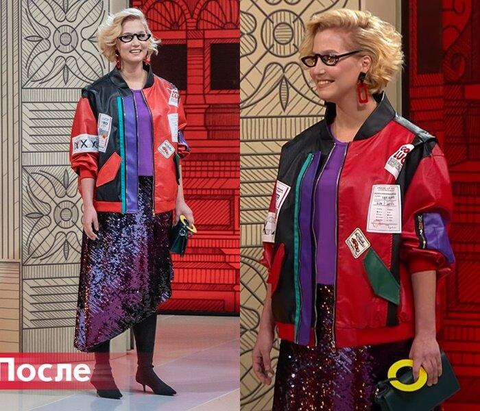 Модный приговор, Василиса - Куртка-бомбер с асимметричной юбкой в пайетках