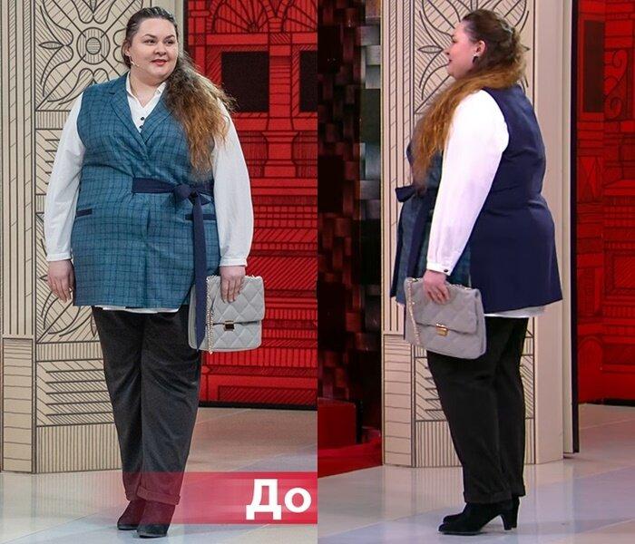 """Модный приговор, Яна с фигурой """"яблоко"""" - Белая рубашка с брюками и жилеткой"""