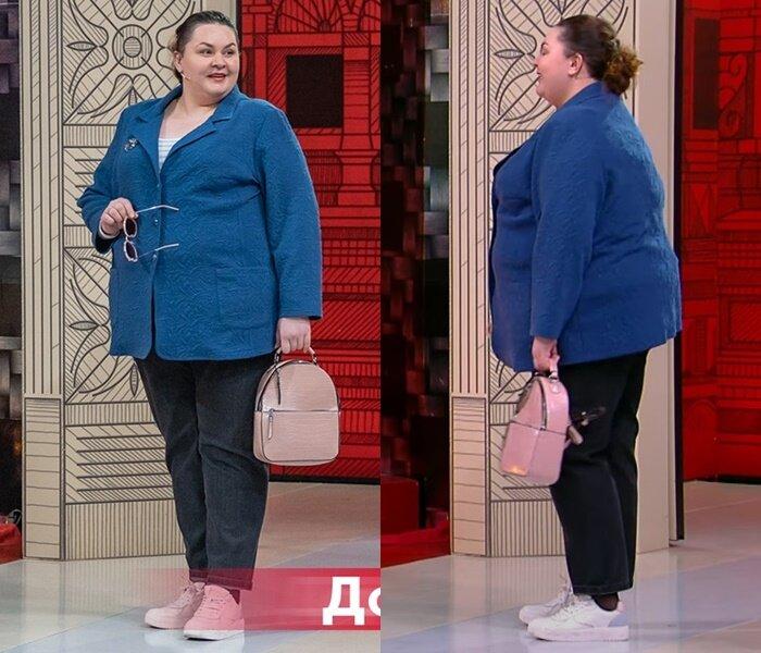 """Модный приговор, Яна с фигурой """"яблоко"""" - Голубой жакет поверх топа с джинсами"""