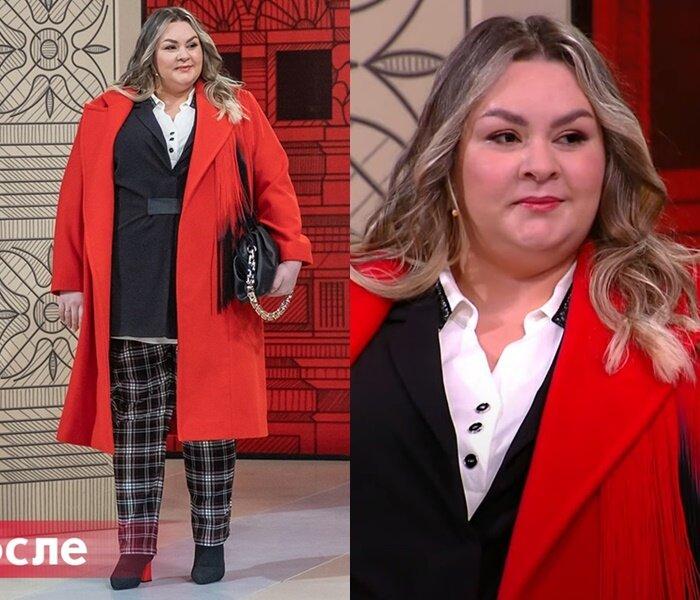 """Модный приговор, Яна с фигурой """"яблоко"""" - Красное пальто с клетчатыми брюками"""