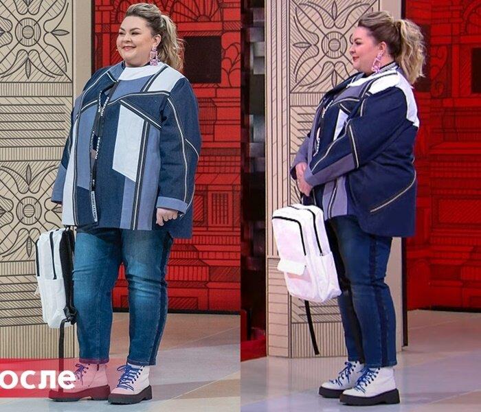 """Модный приговор, Яна с фигурой """"яблоко"""" - Жакет с асимметричным принтом в паре с джинсами"""