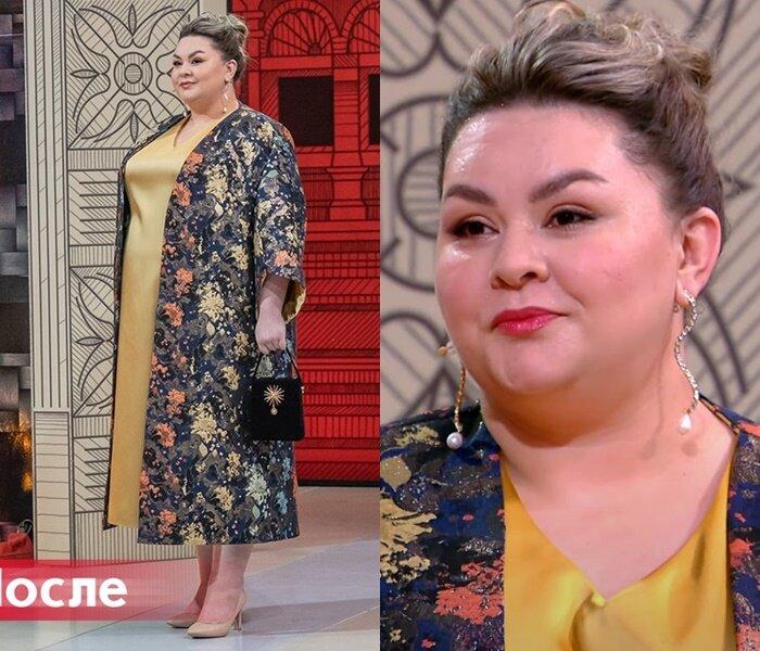 """Модный приговор, Яна с фигурой """"яблоко"""" - Золотое платье с цветочным пальто в стиле кимоно"""