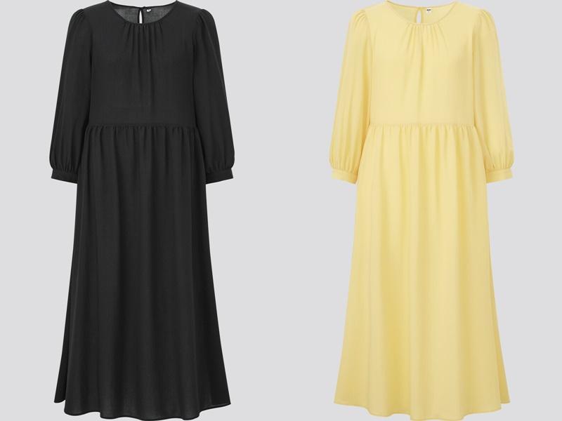 Фасоны платьев Uniqlo лето 2021 - Чёрное и жёлтое платье с длинным рукавом