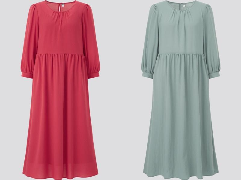 Фасоны платьев Uniqlo лето 2021 - Красное и мятное платье с длинным рукавом