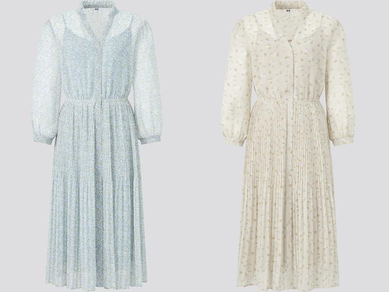 Фасоны платьев Uniqlo лето 2021 - Шифоновые платья с мелким цветочным узором