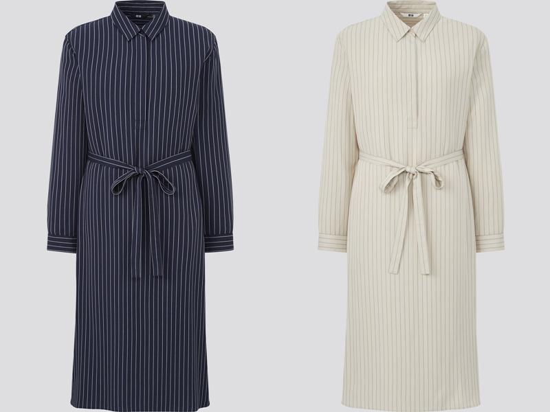 Фасоны платьев Uniqlo лето 2021 - Платья-рубашки в тонкую полоску