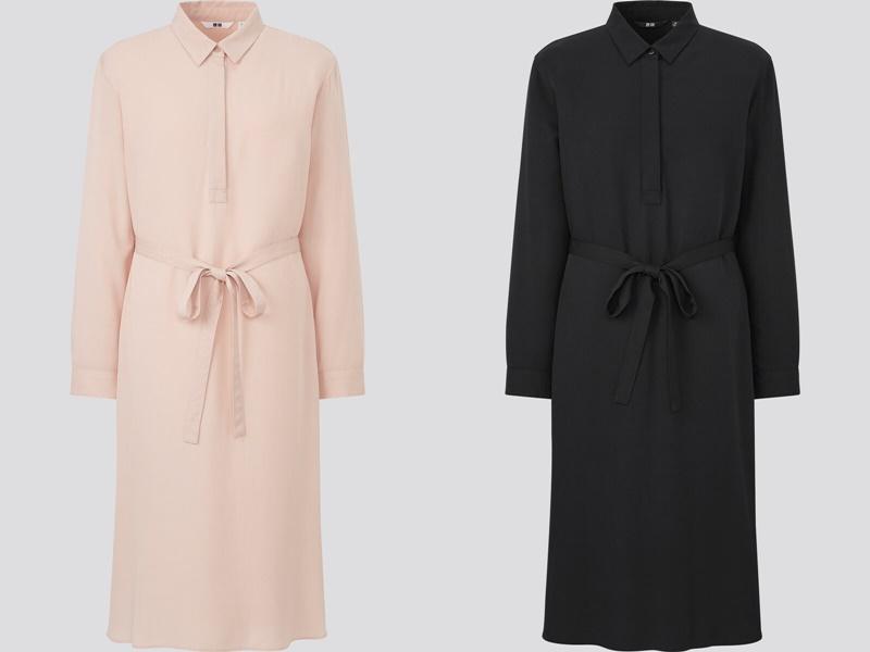 Фасоны платьев Uniqlo лето 2021 - Персиково-розовое и чёрное платья-рубашки
