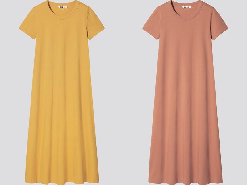 Фасоны платьев Uniqlo лето 2021 - Жёлтое и оранжевое платья-футболки