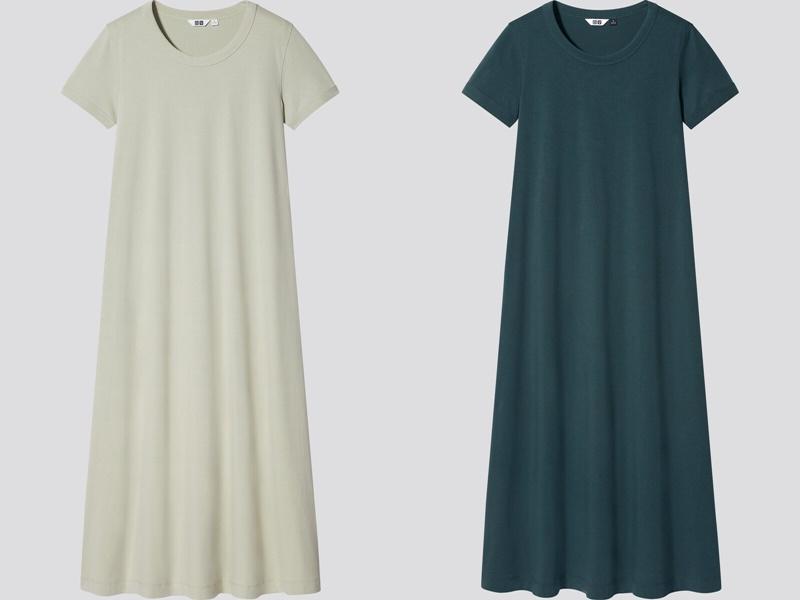 Фасоны платьев Uniqlo лето 2021 - Зелёные платья-футболки