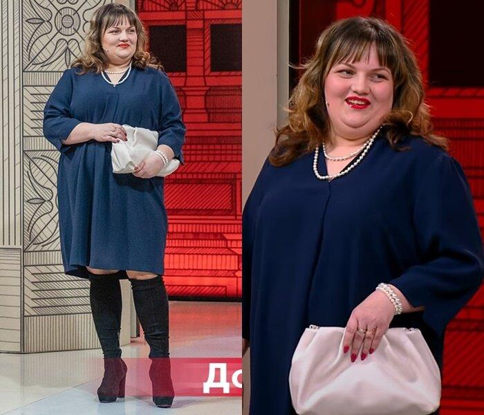 """""""Модный приговор"""", Юлия, с фигурой """"яблоко"""" - Тёмно-синее платье с ботфортами"""